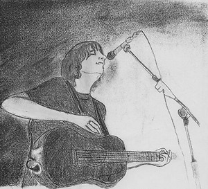 Valli's pencil sketch of James singing.