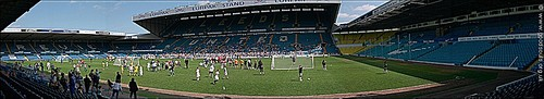 The Elland Road grounds in glorious sunshine for Soccer Six.  Click for a larger view.