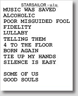 [The ULU set list, featured old and new.]